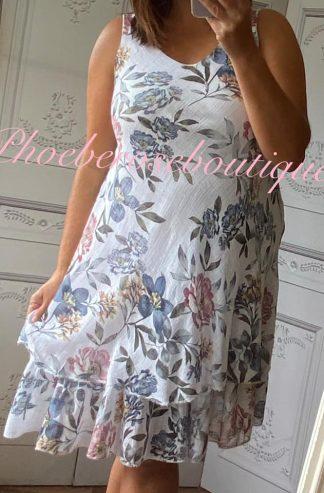 Floral Frill Hem Linen/Cotton Feel Dress - White