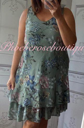 Floral Frill Hem Linen/Cotton Feel Dress - Khaki