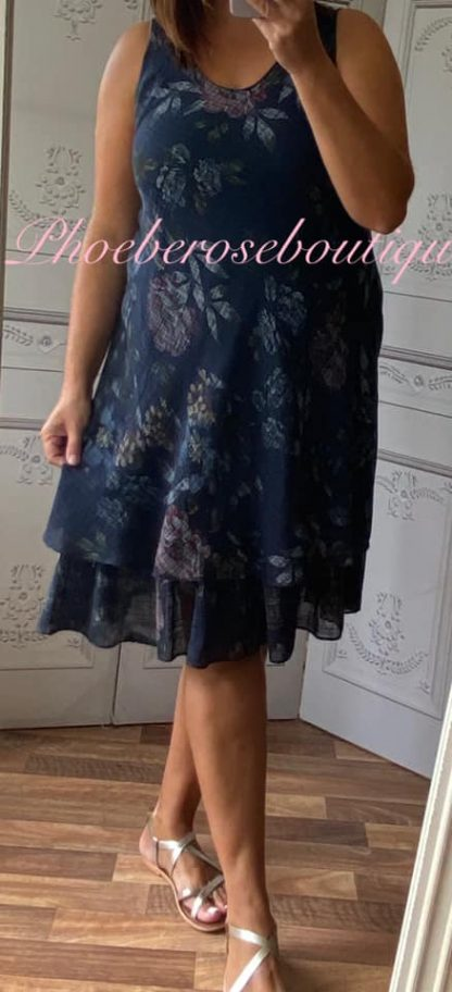Floral Frill Hem Linen/Cotton Feel Dress - Navy