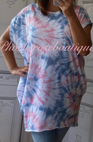 Tie Dye - Super Soft Pocket Tunic/Top - Pink Mix