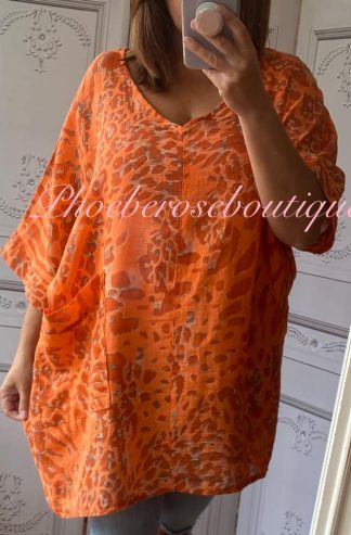 Animal Print Pocket Linen Mix Tunic - Orange