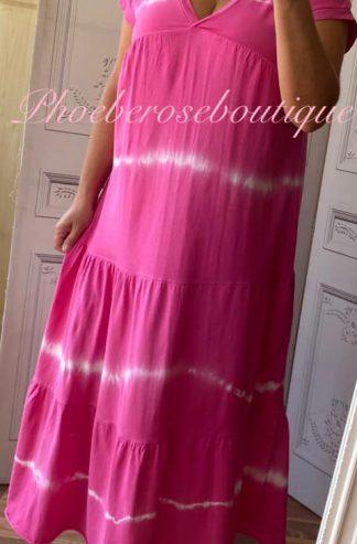Jersey V Neck Tie Dye Tiered Midi Dress - Fuschia