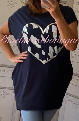 Lepo Heart Stretch Jersey Cap Sleeve Pocket Tunic Top - Navy