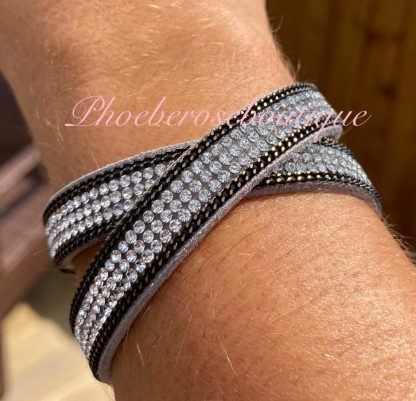 Diamante Double Wrap Bracelet - Silver