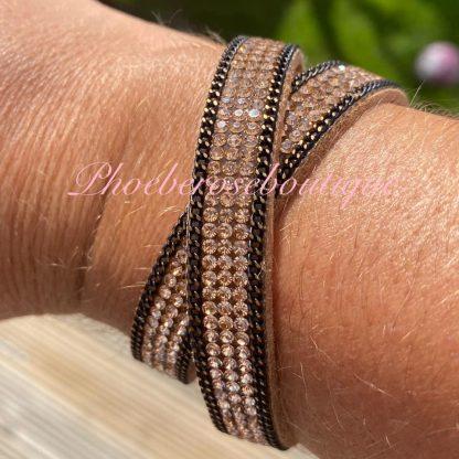 Diamante Double Wrap Bracelet - Rose Gold