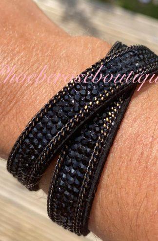 Diamante Double Wrap Bracelet - Black