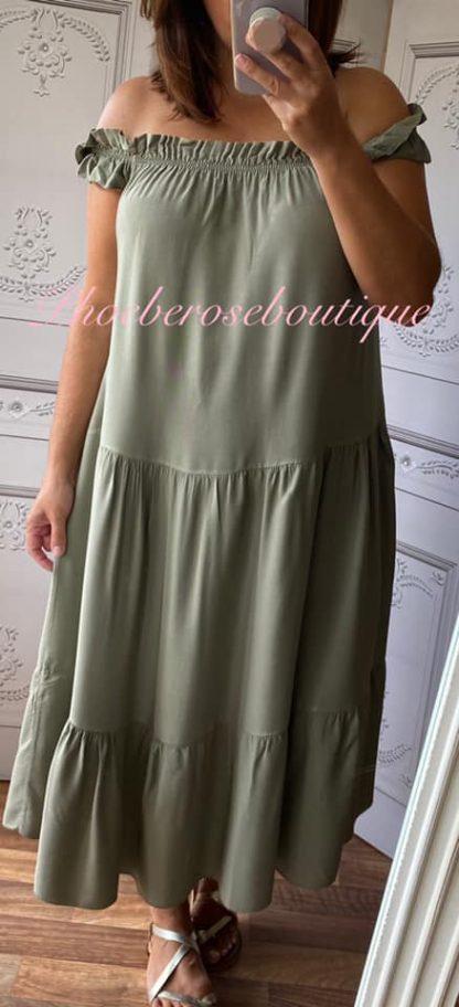 Cotton Feel Tiered Midi Bardot Dress - Khaki