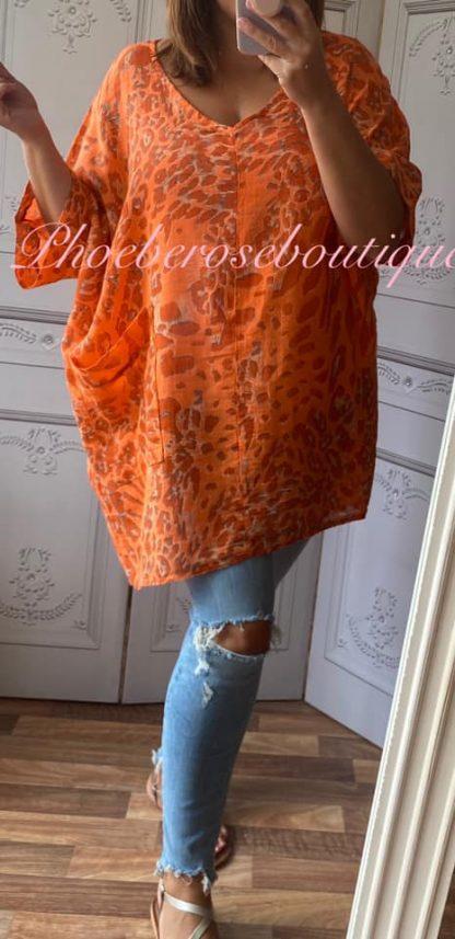 Animal Print Pocket Linen Mix Tunic - Orange