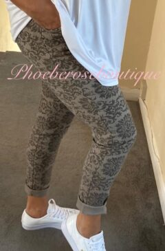 Magic Stretch Joggers - Damask Print - Mocha