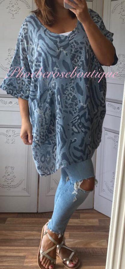 Animal Print Pocket Linen Mix Tunic - Denim Blue