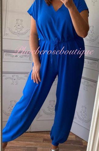 Short Sleeve Tie Jumpsuit - Royal Blue