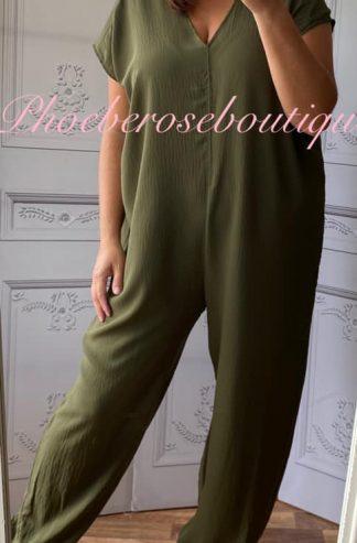 Short Sleeve Tie Jumpsuit - Khaki
