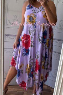 Hanky Hem Print Dress - Bold Floral- Lilac