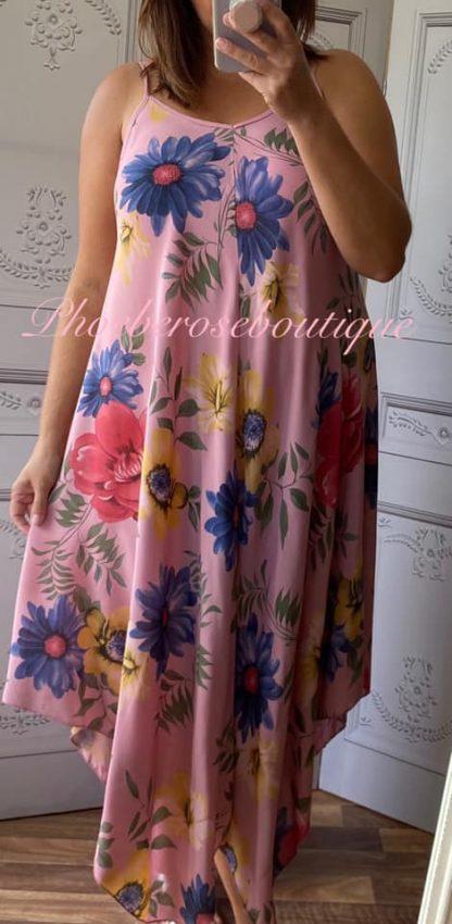 Hanky Hem Print Dress - Bold Floral- Dusky Pink