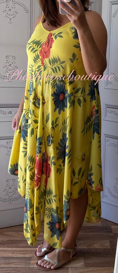 Hanky Hem Print Dress - Bold Floral- Yellow