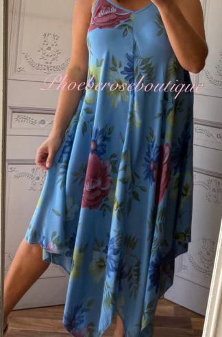 Hanky Hem Print Dress - Bold Floral- Denim Blue