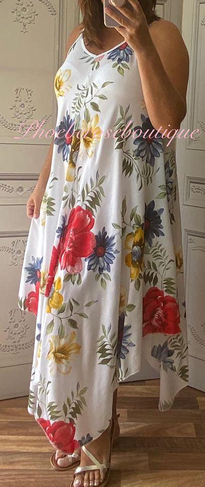 Hanky Hem Print Dress - Bold Floral- White