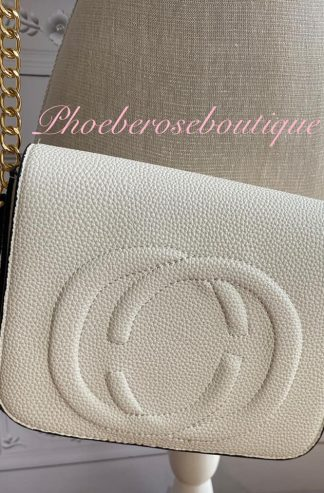 Logo Cross Body Gold Chain Bag - Oyster