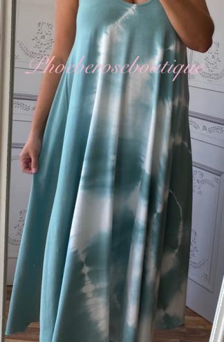 Lux Soft Stretch Jersey Tie Dye Print Swing Dress - Teal