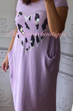 Lepo Heart Jersey Cap Sleeve Pocket Midi Dress - Lilac