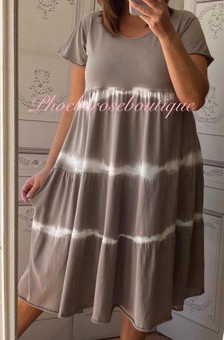 Tie Dye Tiered Smock Midi Dress - Mocha