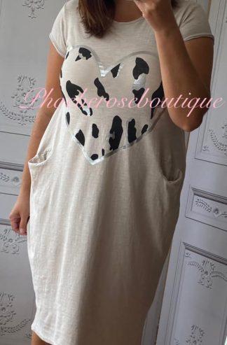 Lepo Heart Jersey Cap Sleeve Pocket Midi Dress - Stone
