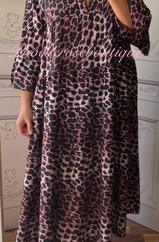 Lepo Tiered Smock Long Dress - Pink Mix