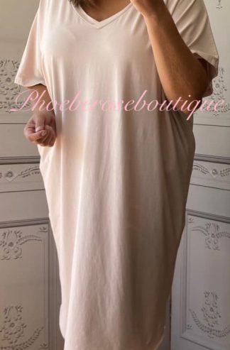 Soft Jersey V Neck Slouch T-Dress - Soft Pink