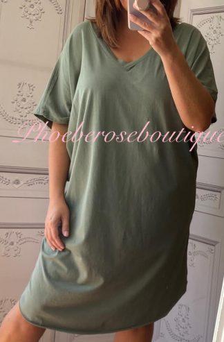 Soft Jersey V Neck Slouch T-Dress - Khaki