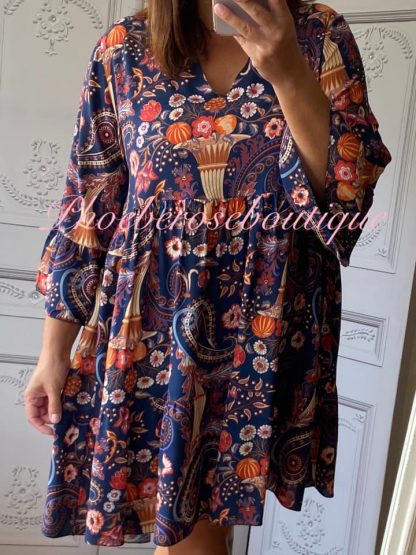 Autumn Print Smock Tunic/Dress - Navy