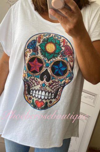 Skull Sparkly Stud Embellished Loose Fit T-Shirt - White