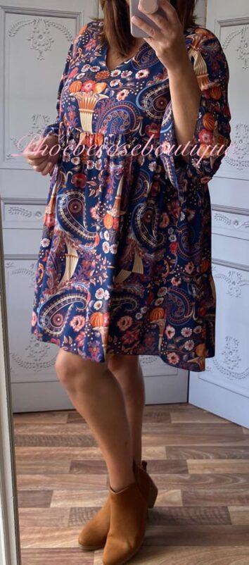 Autumn Print Smock Tunic/Dress - Navy