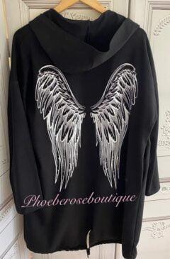 Angelwing Back Lightweight Sweat Longline Hooded Jacket - Black