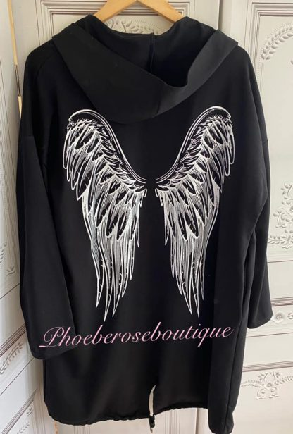Angelwing Back Lightweight Sweat Longline Hooded Jacket - Black