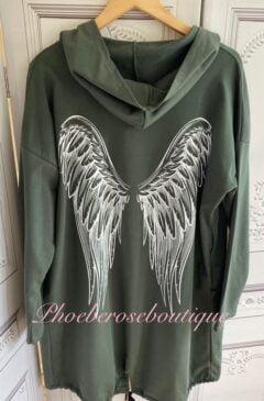 Angelwing Back Lightweight Sweat Longline Hooded Jacket - Khaki