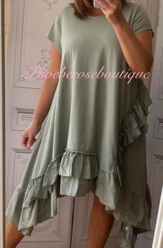Lux Asymmetric Frill Trim Short Sleeve Tunic/Dress - Khaki