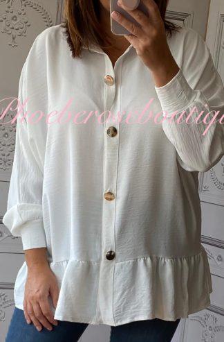 Peplum Frill Gold Button Blouse/Shirt - Off White