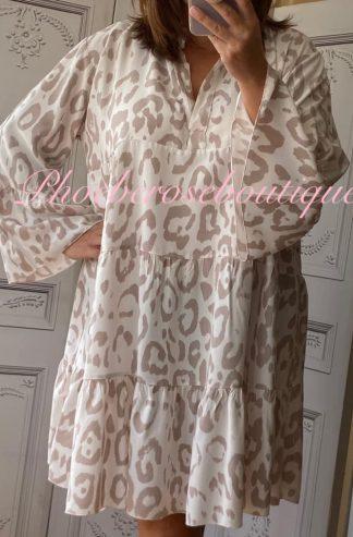 Animal Print Tiered Boho Tunic/Dress - Blush Pink