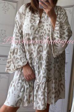 Animal Print Tiered Boho Tunic/Dress - Beige