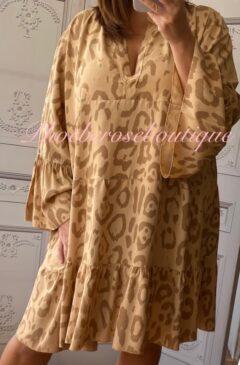 Animal Print Tiered Boho Tunic/Dress - Camel