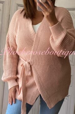 Ballerina Style Wrap Soft Knit Cardigan - Soft Pink