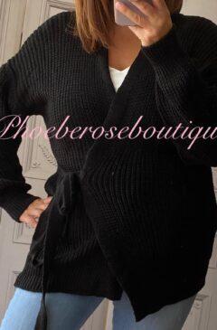 Ballerina Style Wrap Soft Knit Cardigan - Black