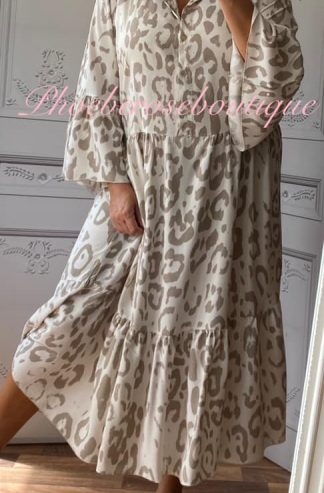 Animal Print Boho Tiered Long Dress - Mocha