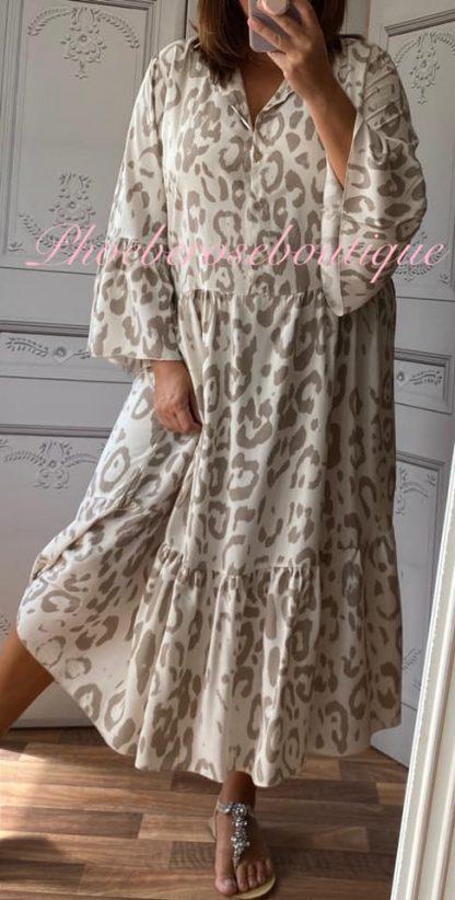Animal Print Boho Tiered Long Dress - Mocha