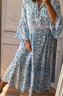 Animal Print Boho Tiered Long Dress - Soft Blue
