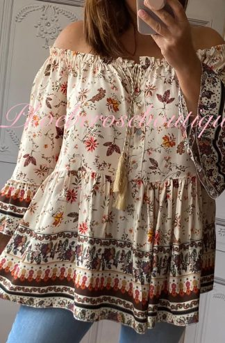 Lux Autumn Floral Print Boho Bardot Loose Fit Top - Cream