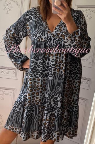 Animal Print V Neck Long Sleeve Tiered Dress - Grey