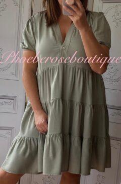 Cotton Twill Tiered Puff Sleeve Smock Dress - Khaki