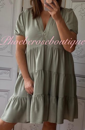 Cotton Twill Tiered Puff Sleeve Smock Dress - Khaki