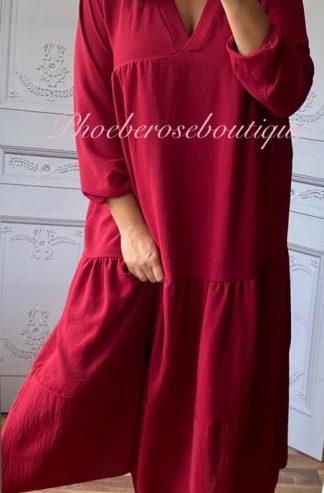 Tiered Smock Long Dress - Dark Red